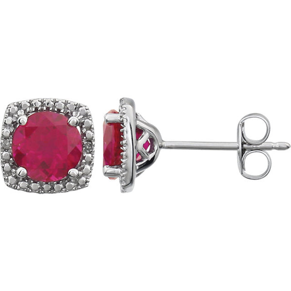 Sterling Silver Red Ruby (6 x 6mm Stones) & .015 CTW Diamond Stud Earrings