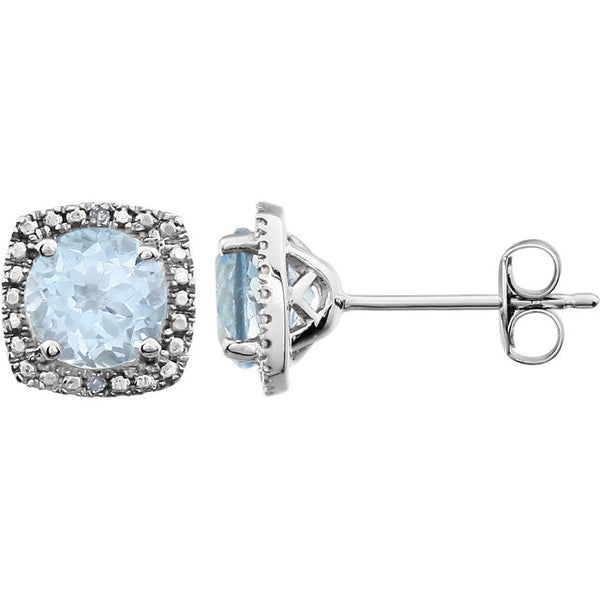 Sterling Silver Light Blue Topaz (6 x 6mm Stones) & .015 CTW Diamond Stud Earrings