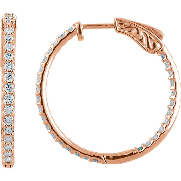 1.00 Carat Diamond Hoop Earrings in 14k Rose Gold