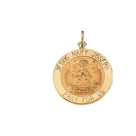 "14K Yellow Gold Round Medal Pendant, ""Jesus, Mary and Joseph Pray for Us"" (12MM)"