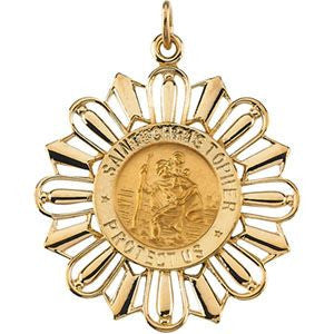 14K Yellow Gold 30x26mm St. Christopher Medal