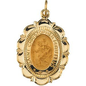 14K Yellow Gold 25x18mm St. Christopher Medal