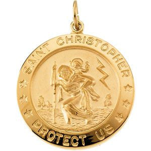 Yellow Gold Gold Filled 25mm St. Christopher Medal