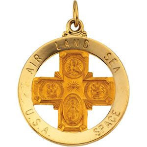 14K Yellow Gold 25mm St. Christopher Four-Way Medal