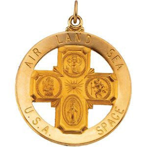 14K Yellow Gold 32.5mm St. Christopher Four-Way Medal
