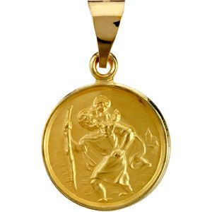 18K Yellow Gold 13mm St. Christopher Medal