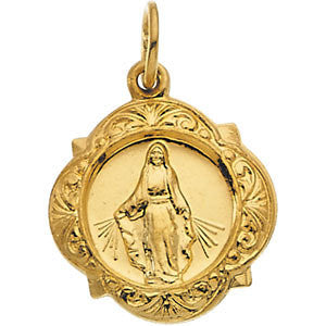 "14K Pure Yellow Gold 12.14x12.09mm Miraculous Medal (1/2"")"