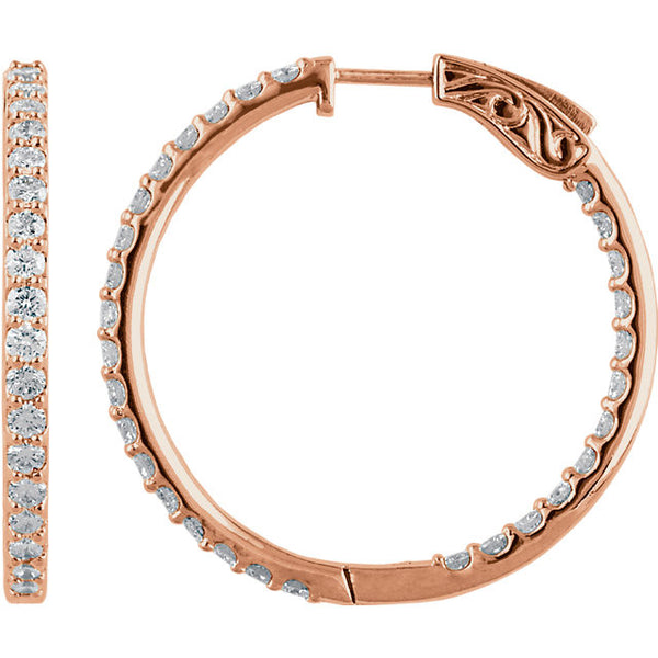 "3.00 Carat Diamond Hoop Earrings in 14k Rose Gold - Color: H+, Clarity: I1 (1.5"" across)"