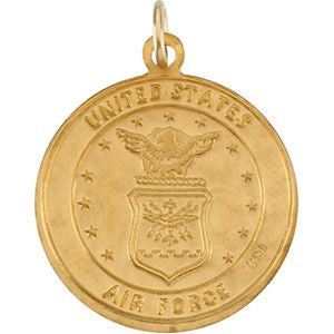 14K Yellow Gold 18mm Round St. Christopher U.S. Air Force Medal