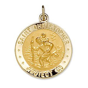 14K Yellow Gold 18mm Round St. Christopher U.S. Marine Corps Medal