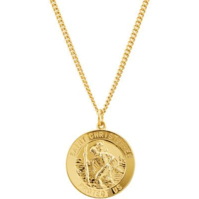 "24K Gold Plated 28.19x25.13mm St. Christopher Medal 24"" Necklace"