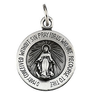 "Sterling Silver 12mm Miraculous Medal with 18"" Curb Chain"