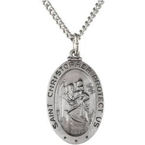 "Sterling Silver 23.75x16.25mm Oval St. Christopher 24"" Necklace"