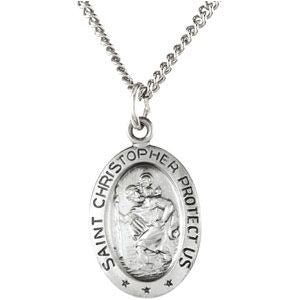 "Sterling Silver 15x11mm Oval St. Christopher 18"" Necklace"