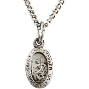 Sterling Silver 8.75x5.75mm Oval St. Christopher Medal