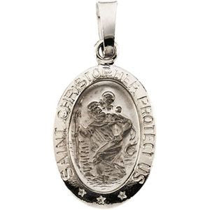 14K White Gold 15x11mm Oval St. Christopher Medal