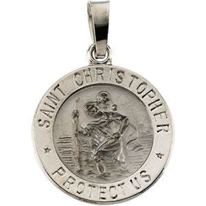 14K White Gold 14.75mm St. Christopher Medal