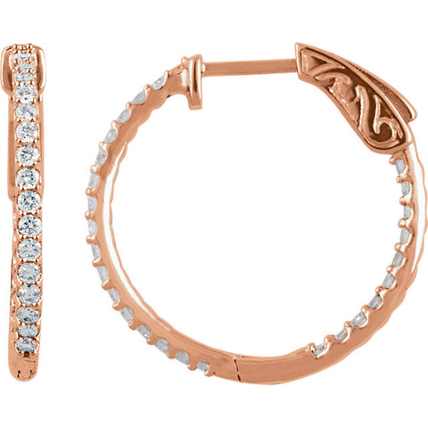 .75 Carat Diamond Hoop Earrings in 14k Rose Gold - Color: H+, Clarity: I1