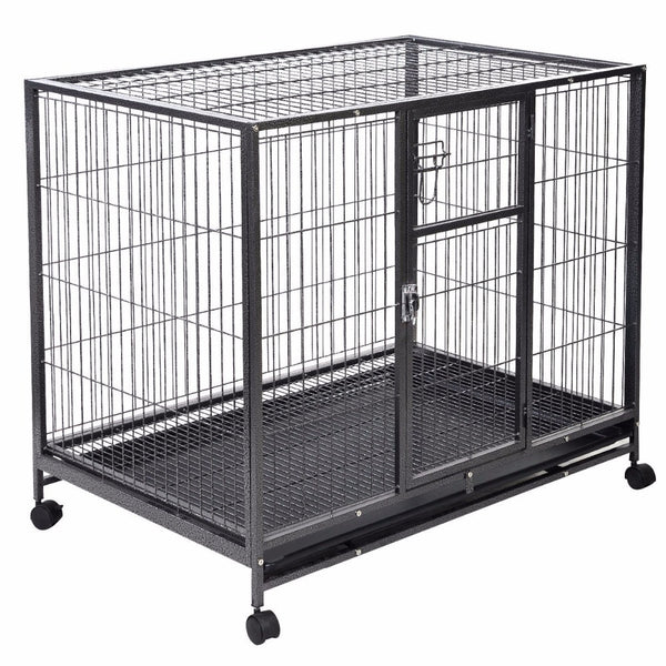 Heavy Duty Black 42'' Dog Crate w/ Tray