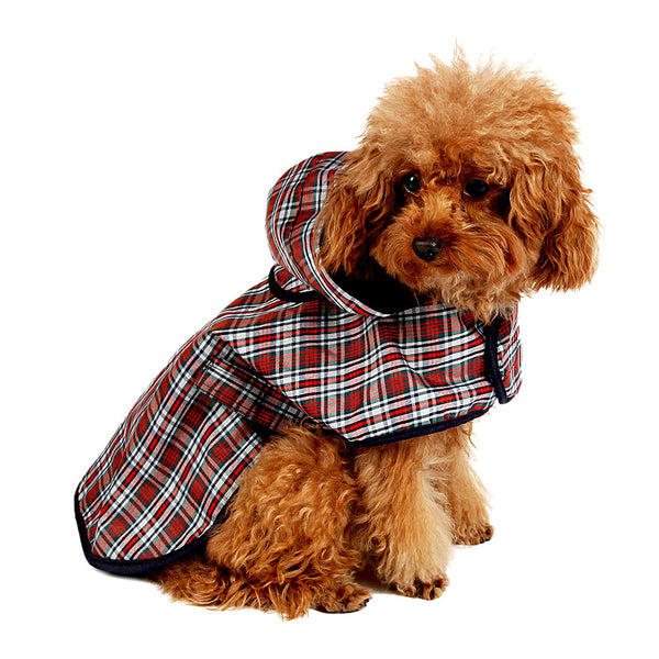 Plaid Waterproof Dog Raincoat with Hood - Apparel for Pets