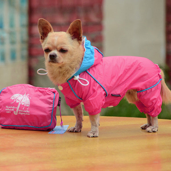 Hooded Dog Raincoat Jumpsuit in Neon Colors - Apparel for Pets