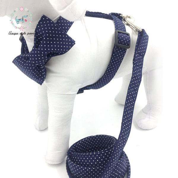 Navy Polka Dot Harness and Leash Set