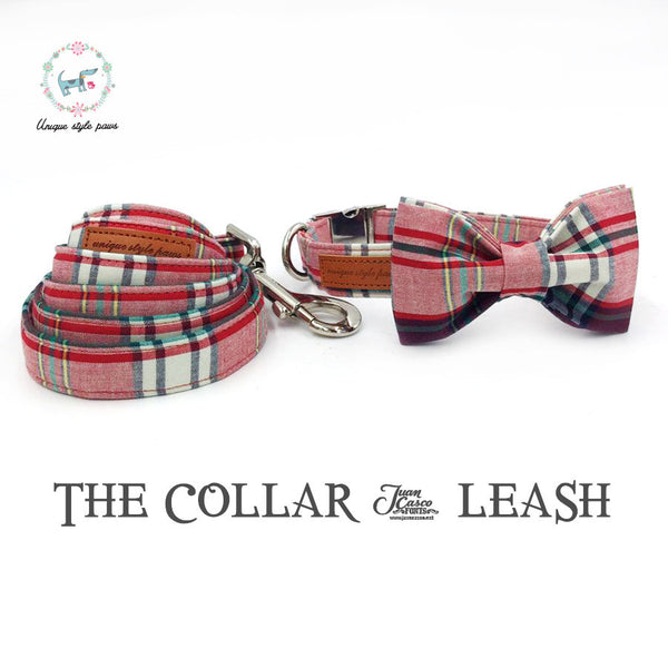 Pink Plaid Collar and Leash