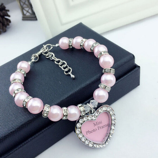 Cute Pearl Pet Necklace With ID Tag Pendant