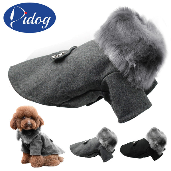 Woolen Fur Collar Coat - Apparel for Pets