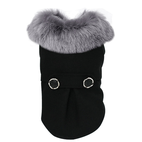 Woolen Fur Collar Coat