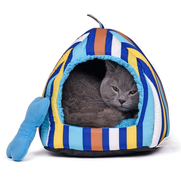 Striped Cozy Cave - Pet Beds - Apparel for Pets - 1