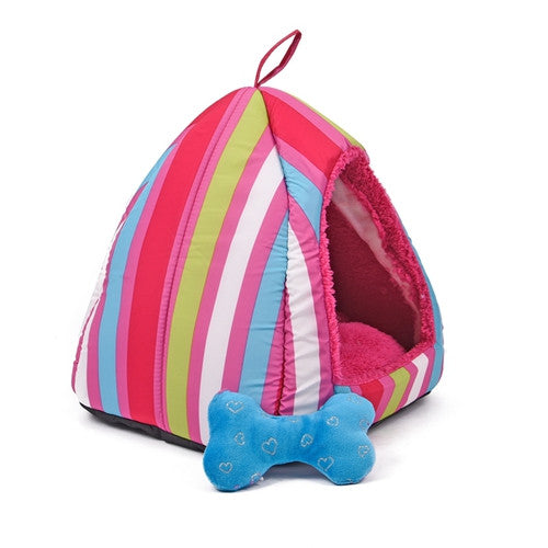Striped Cozy Cave - Pet Beds - Apparel for Pets - 3