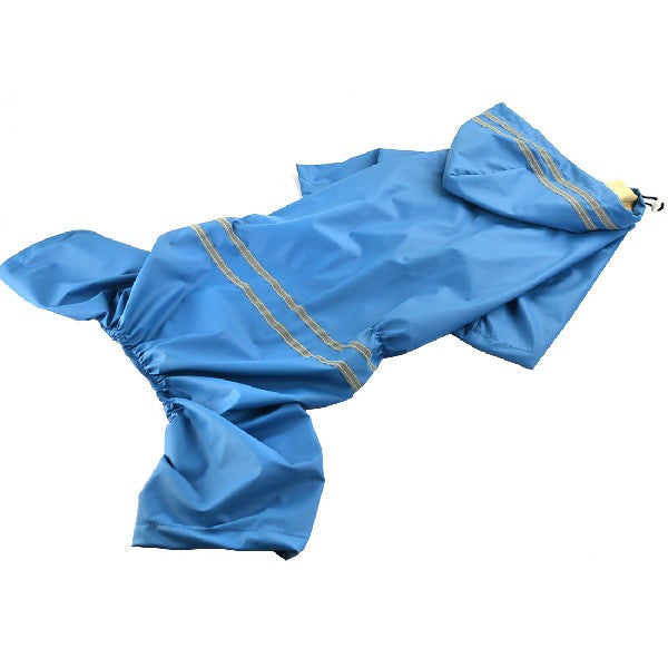 Hooded Large Dog Raincoat with Reflectors - Apparel for Pets