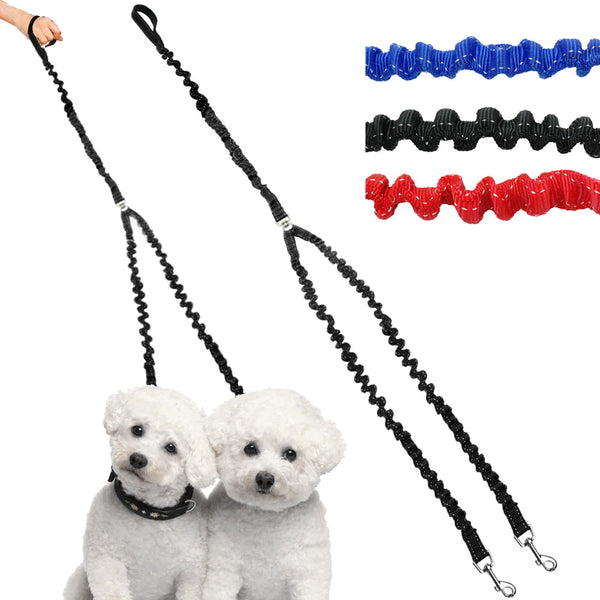 Nylon No-tangle Bungee Double Dog Leash - Apparel for Pets