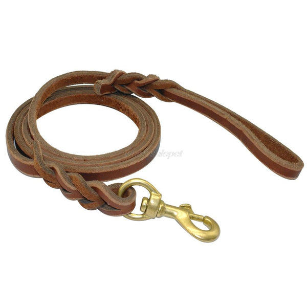 Brown Leather Training Dog Leash - Apparel for Pets