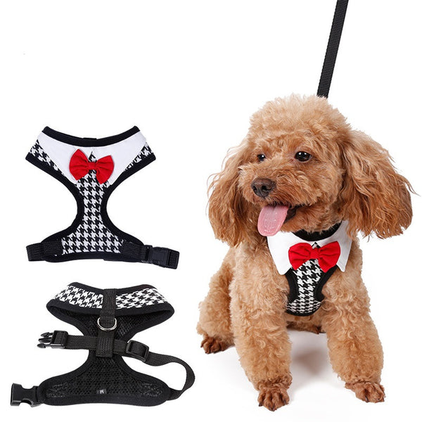 Red Bowtie Tuxedo Harness - Apparel for Pets