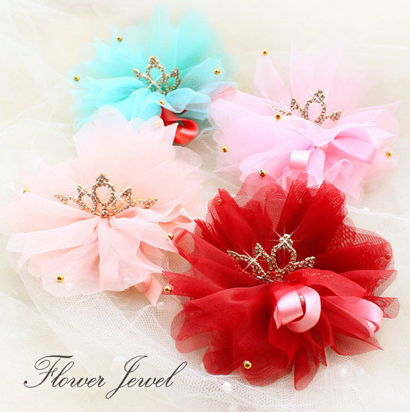 Chiffon Imperial Crown Hair Bows - Apparel for Pets
