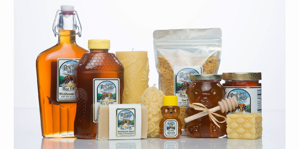 product assortment including honey, candles, soap, and bee pollen