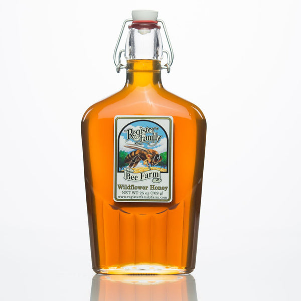 Raw Wildflower Honey - Swing-Top Flask, 25 oz.