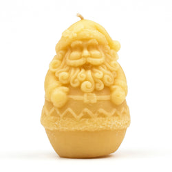 Santa-shaped beeswax candle.