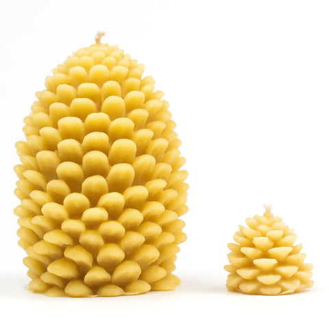 Small and large pine cone beeswax candle.