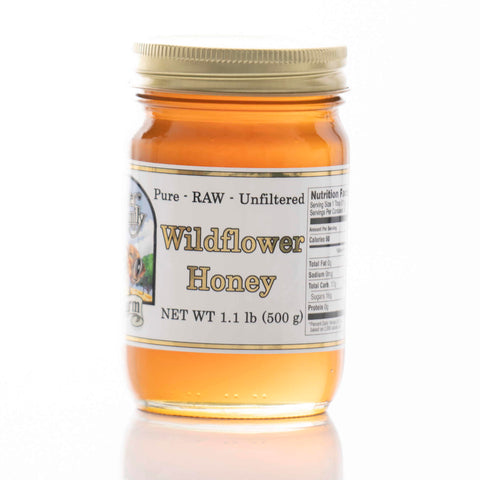 Raw Wildflower Honey - Round Glass Jar