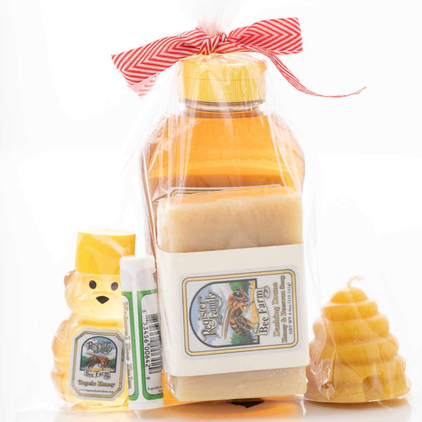 Large Gift Bag with honey, beeswax soap, balm, 100% beeswax candle.
