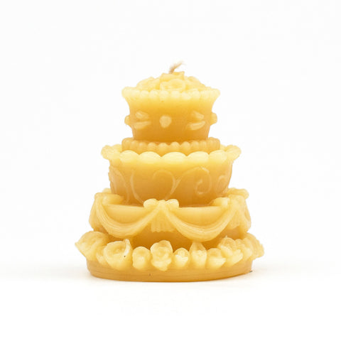 Wedding cake beeswax candle.