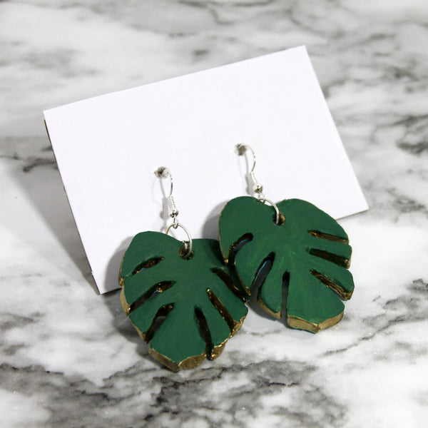 DIY Monstera Leaf Clay Earrings