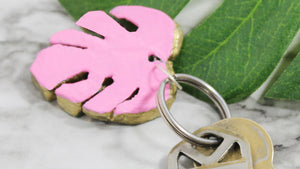 DIY Monstera Leaf Clay Keychain