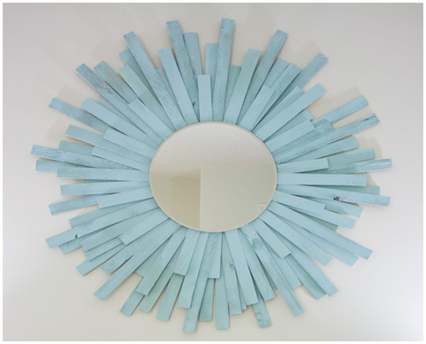 custom DIY starburst mirror with stain or colored paint