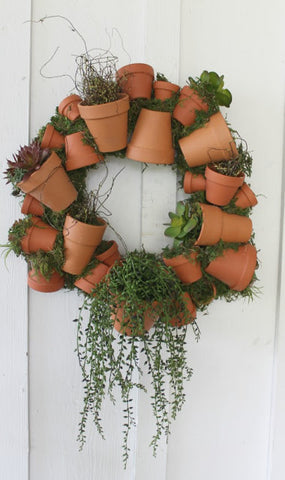 clay pot summer wreath