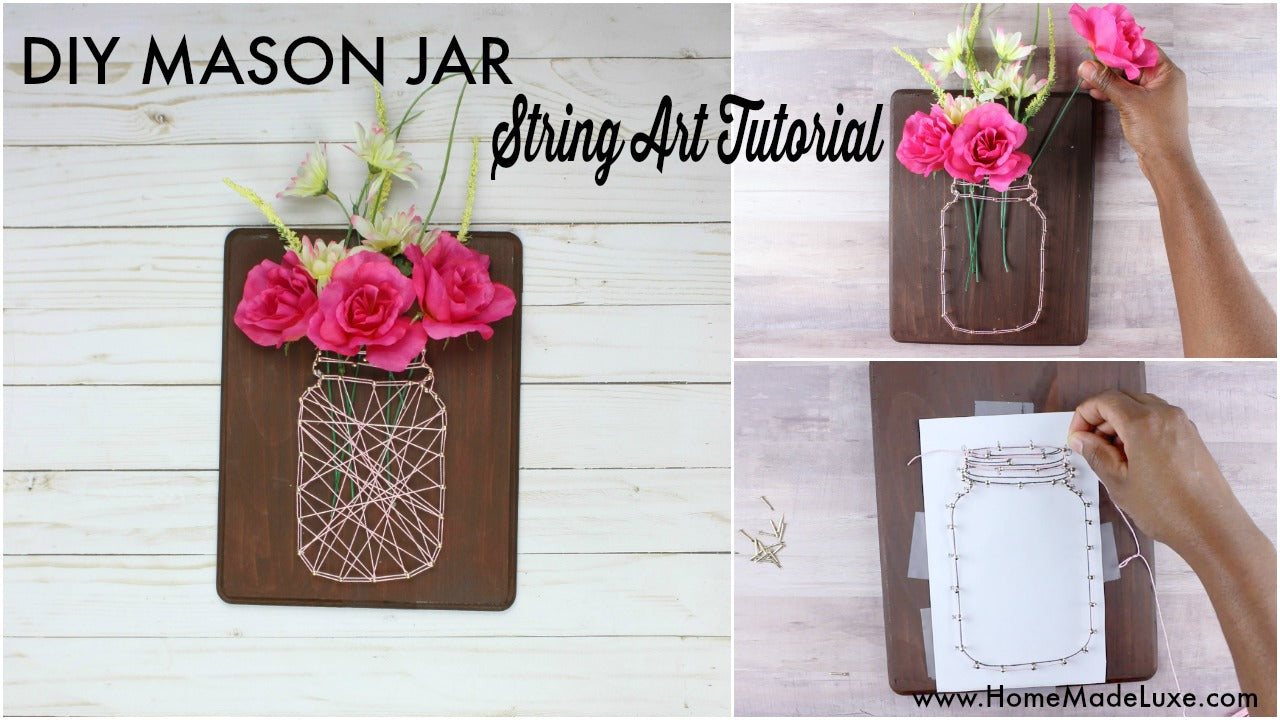 diy mason jar string art tutorial youtube