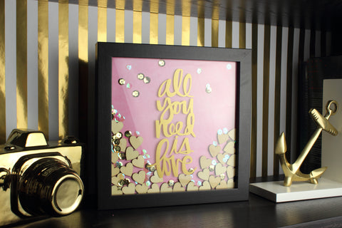 DIY all you need is love gold quote and pink backing